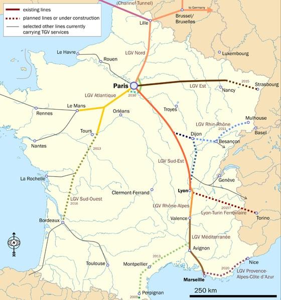 France TGV Map