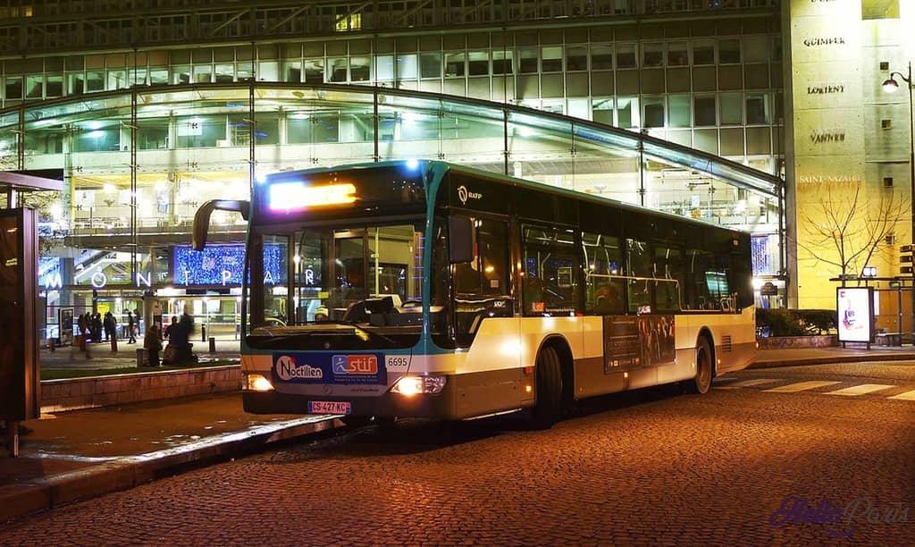 Paris Noctilien Nachtbussen Gebruik