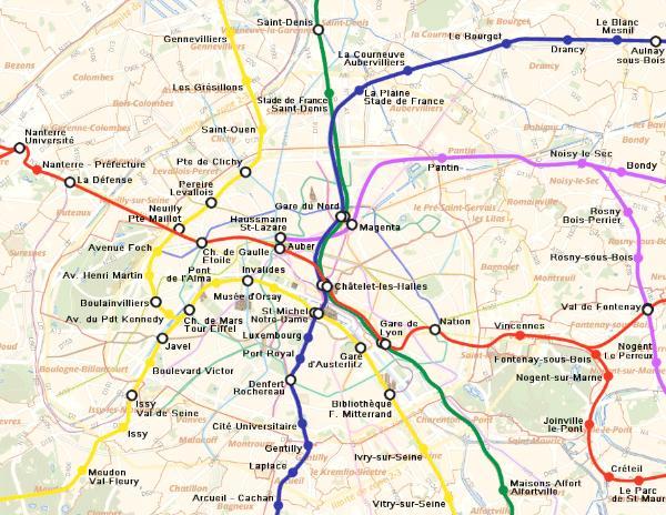 RER Trains Paris Map