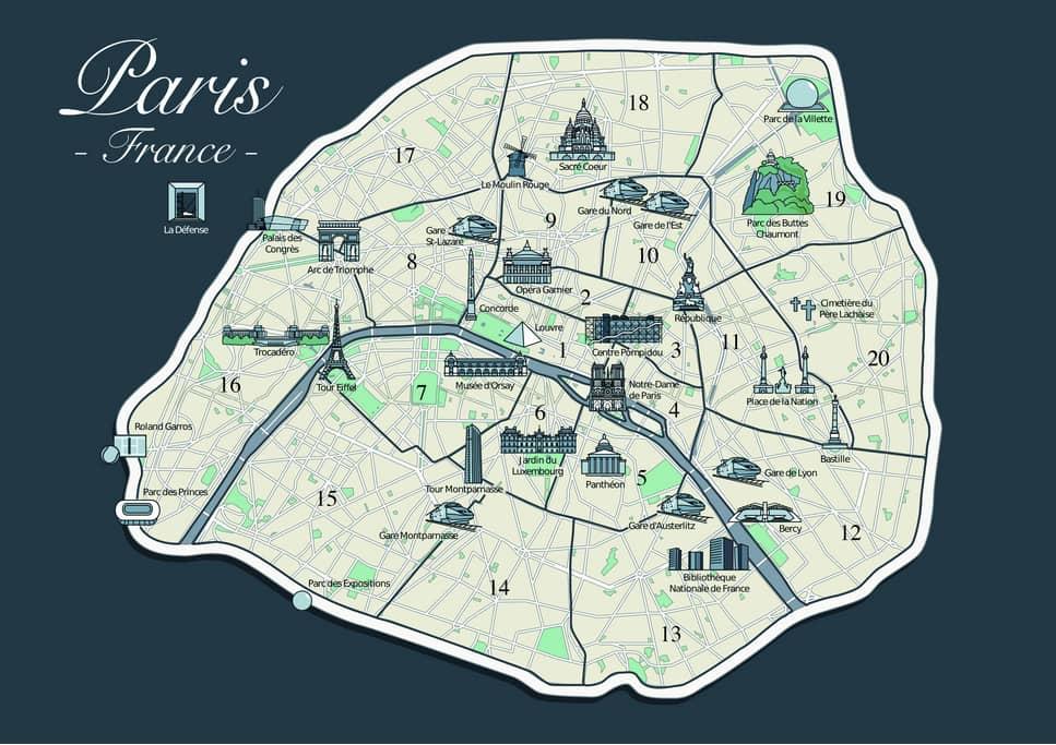 Parijs Wijken te vermijden kaart