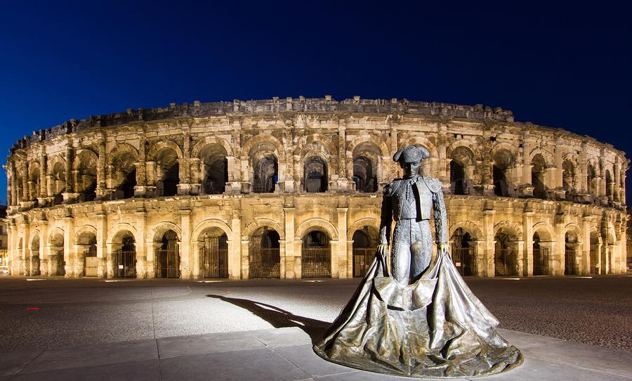The Famous Ancient Roman Amphitheater of Nimes